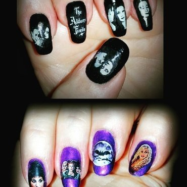 Addams family and Hocus Pocus Halloween nails  nail art by Maureen Spaulding