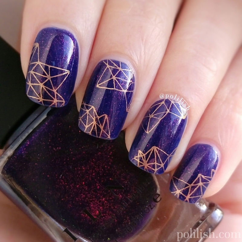 Geometric design with ILNP 'Ruby Sky' nail art by polilish