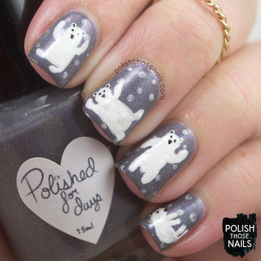 Grey silver polka dot polar bear nail art 4 thumb370f