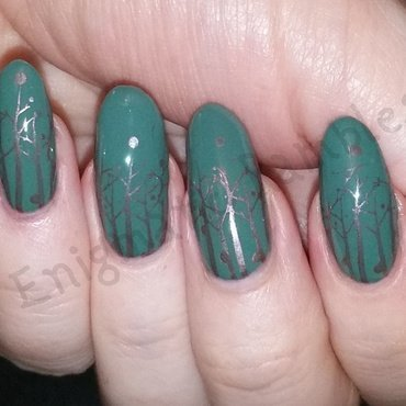 Autumnal Trees nail art by Enigmatic Rambles