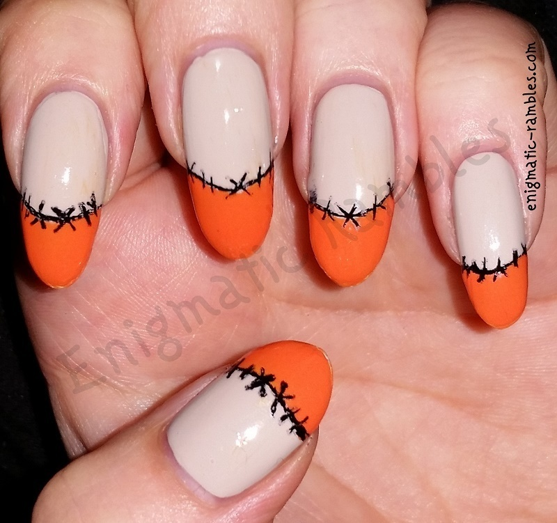 Halloween Stitched French nail art by Enigmatic Rambles