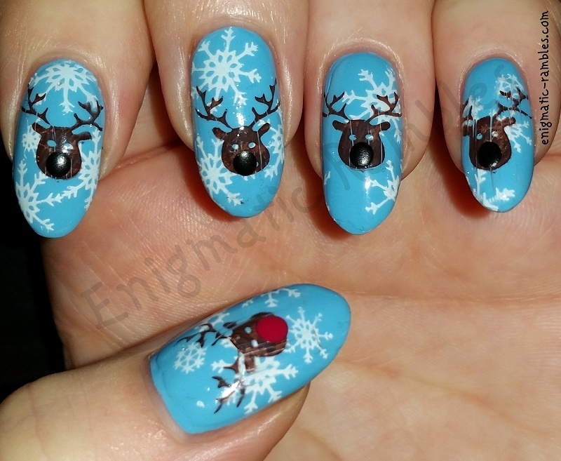 Reindeer Nails nail art by Enigmatic Rambles