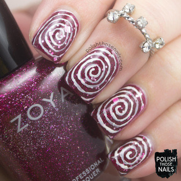 Peppermint Pinwheel Swirls nail art by Marisa  Cavanaugh