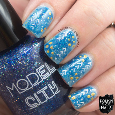 Blue watercolor sparkle abstract holiday pattern nail art 4 thumb370f