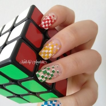 Rubik nails nail art by Daniela