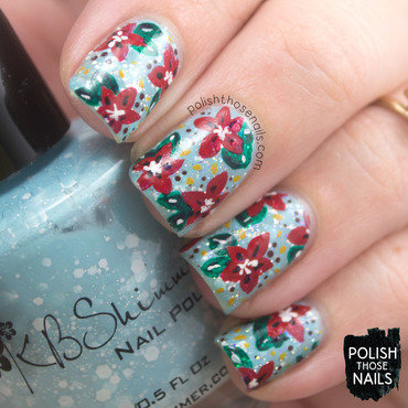 Poinsettia Snow Blizzard nail art by Marisa  Cavanaugh