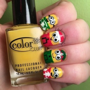 Christmas Minions nail art by lifedippedinpolish