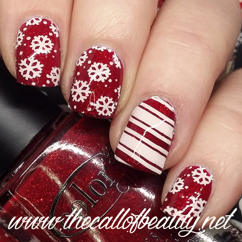 Candy Cane and Snowflakes nail art by The Call of Beauty