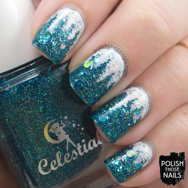 Teal glitter frozen icicles nail art 4 thumb370f