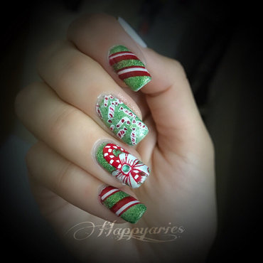 Candy cane mani nail art by Happy_aries