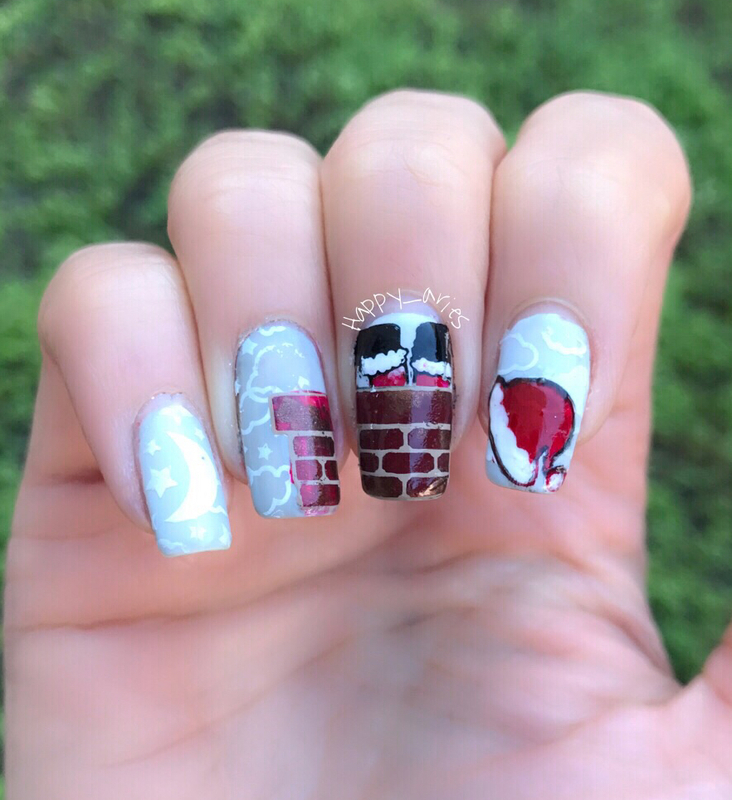 Santa claus got stuck in my chimney music inspired nail art nail art by Happy_aries