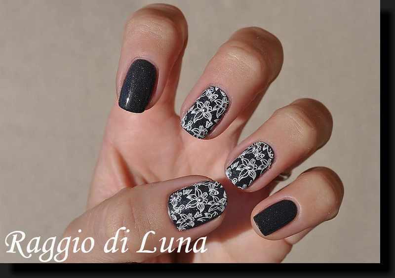 Stamping: White lilies on dark grey nail art by Tanja