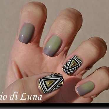 Tribal manicure with golden triangles nail art by Tanja