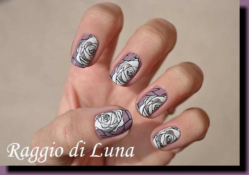Stamping: White & silver rose on madly purpled nail art by Tanja