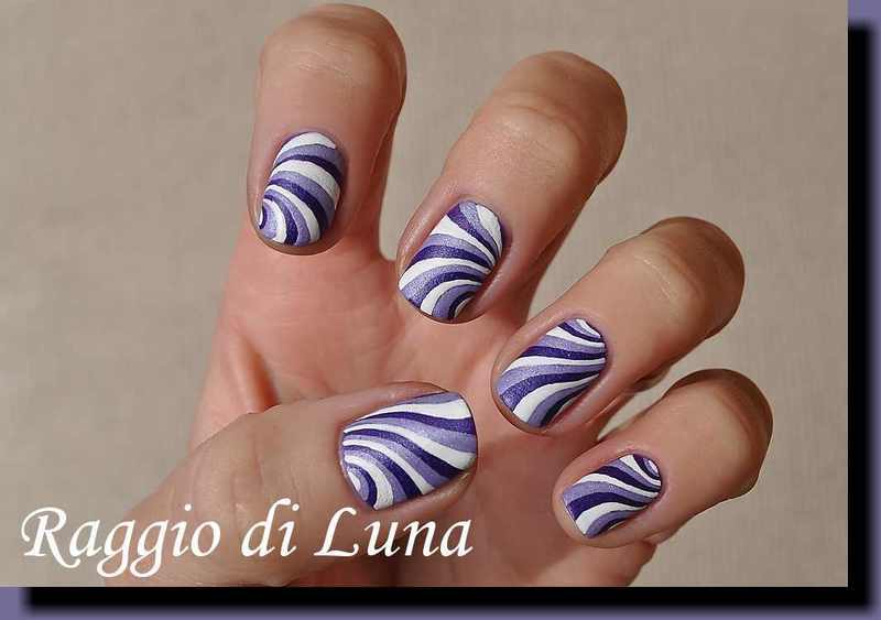 Purple & white abstract manicure nail art by Tanja