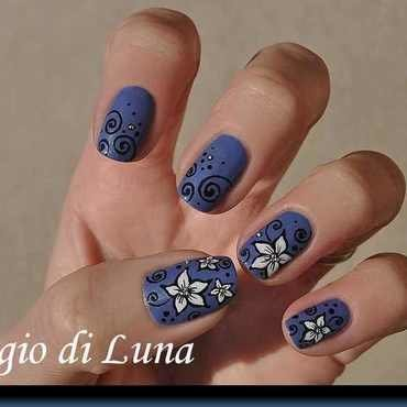 Flowers on denim blue nail art by Tanja