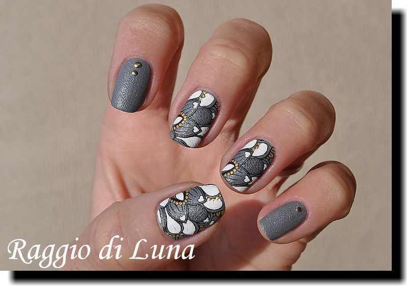 Stamping: Floral pattern on denim grey nail art by Tanja