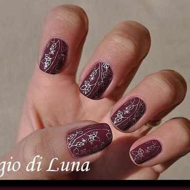 Stamping: Silver leaves on wine denim nail art by Tanja