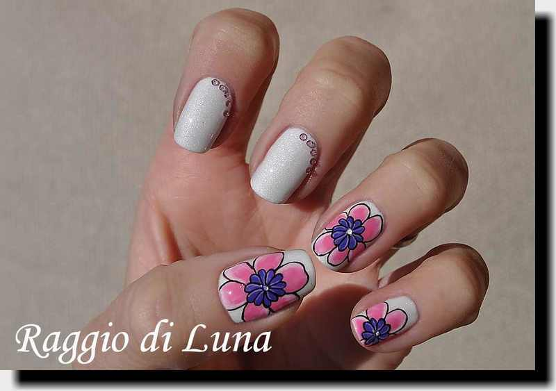 Pink and purple flowers with micro zircon rhinestones nail art by Tanja