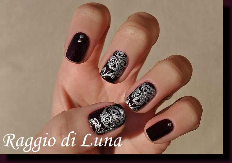 Stamping: Silver flower on plum nail art by Tanja