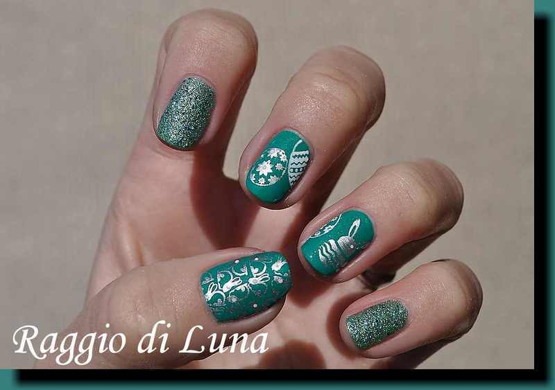 Stamping: Easter stamping manicure on green nail art by Tanja