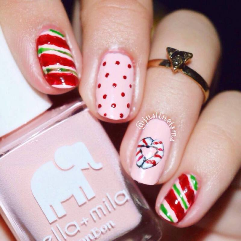 Candy Cane Love nail art by ℐustine