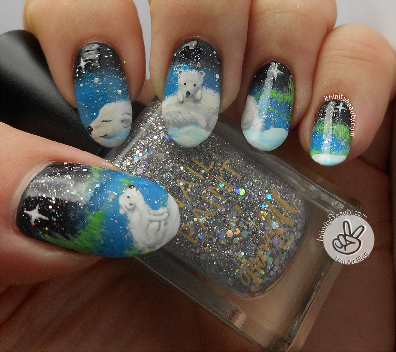 Freehand Northern Lights And Polar Family nail art by Ithfifi Williams