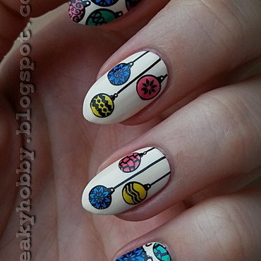 Colourful Christmas Baubles nail art by Mgielka M