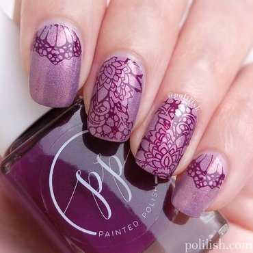 Purple lace design nail art by polilish