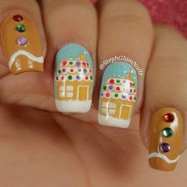 Gingerbread Nails nail art by StephGlamNailz