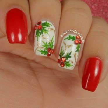 Holly nail art nail art by StephGlamNailz