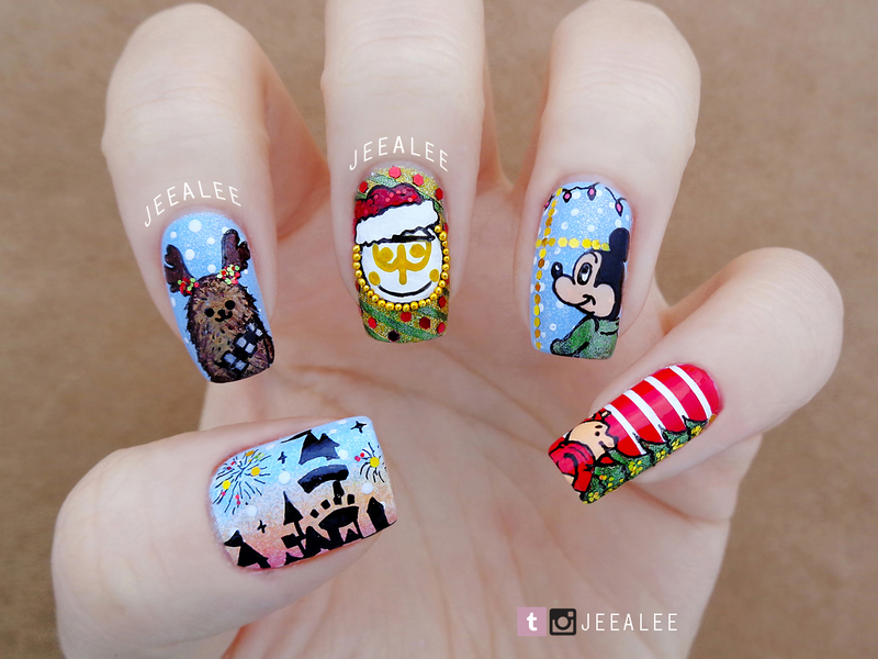 disney christmas nails - Disney Christmas Nails