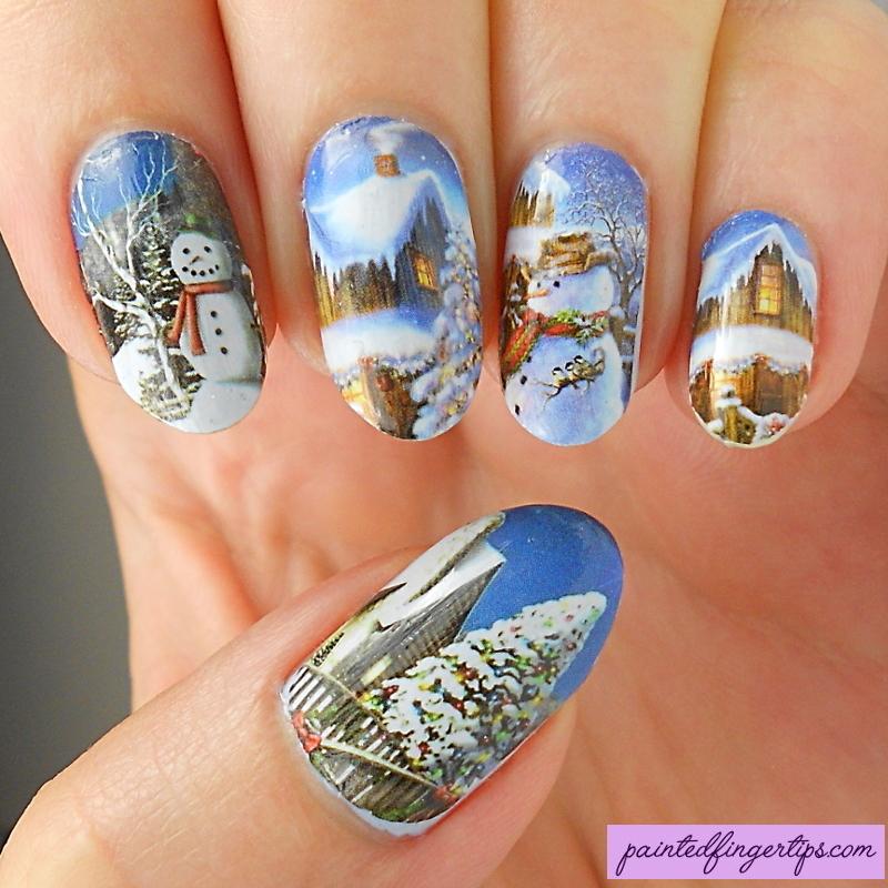 Snowman water decals nail art by Kerry_Fingertips