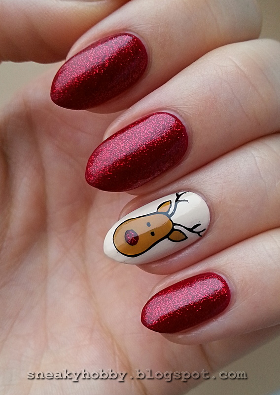 Rudolph The Red-Nosed Reindeer  nail art by Mgielka M