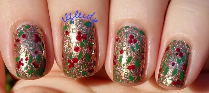 Holly berries nail art by Jenette Maitland-Tomblin