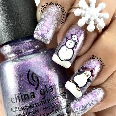Frosty the Snowman  nail art by Morenita  Morena