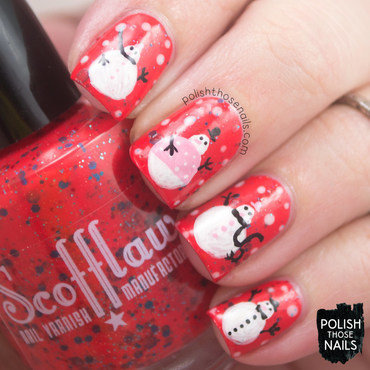 Bright red turquoise glitter snowmen nail art 4 thumb370f