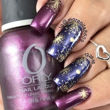 Lovely color combo nail art by Morenita  Morena