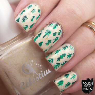 Cream gold flakie silver sparkle christmas tree pattern nail art 4 thumb370f