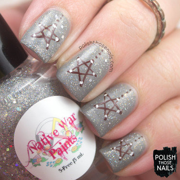 Grey sparkle wooden star ornament nail art 4 thumb370f