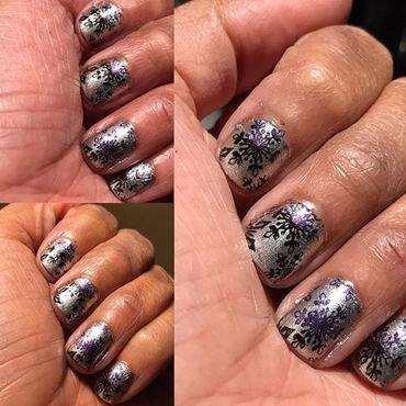 Gradient Snow Flakes nail art by Alyssa Zamiska