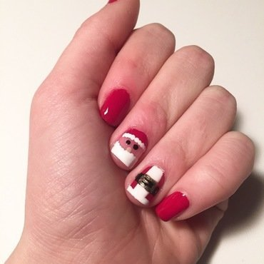Santa Suit nail art by abby_nails