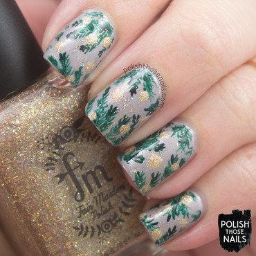 Grey shimmer holiday branch nail art 4 thumb370f