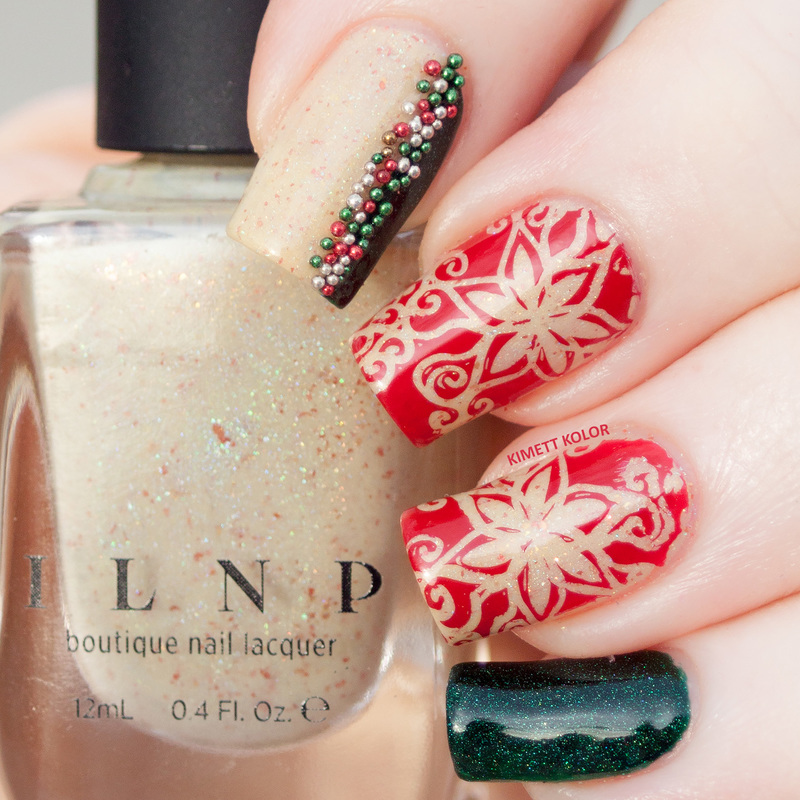 Christmas Flowers on Spiced Eggnog nail art by Kimett Kolor