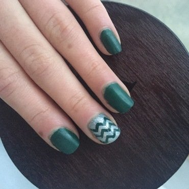 Green and Silver Chevron  nail art by Monica