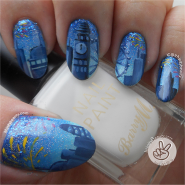 Freehand New Years Fireworks Over London nail art by Ithfifi Williams