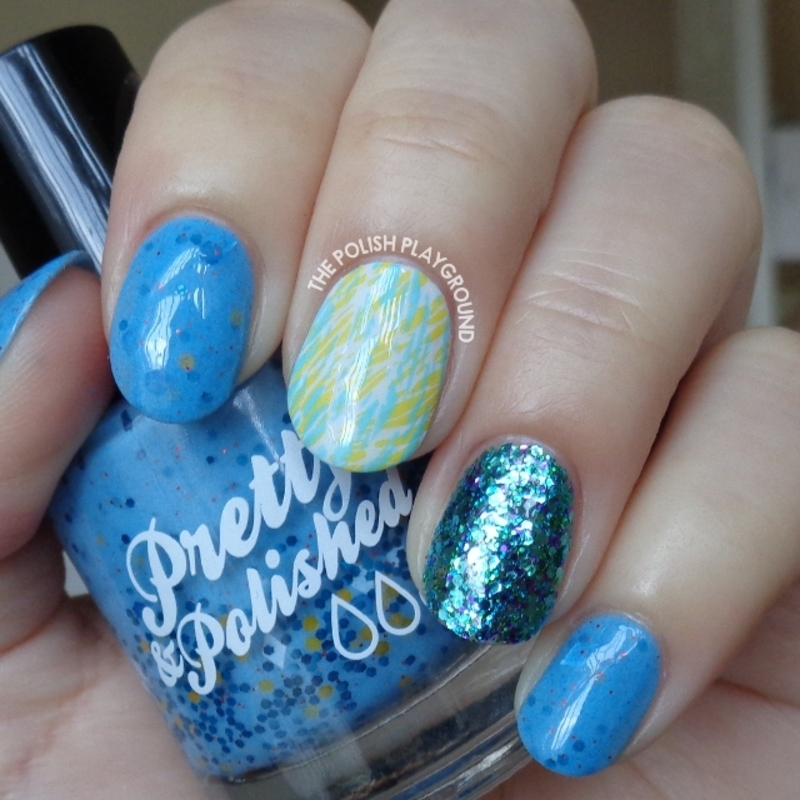 Blue and Yellow Texture Double Stamping nail art by Lisa N