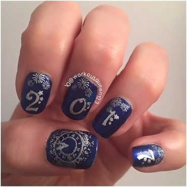 Happy New Year Eve 2017 nail art by Workoutqueen123