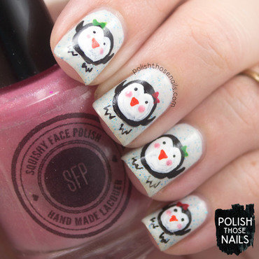 White microglitter cute penguin nail art 4 thumb370f