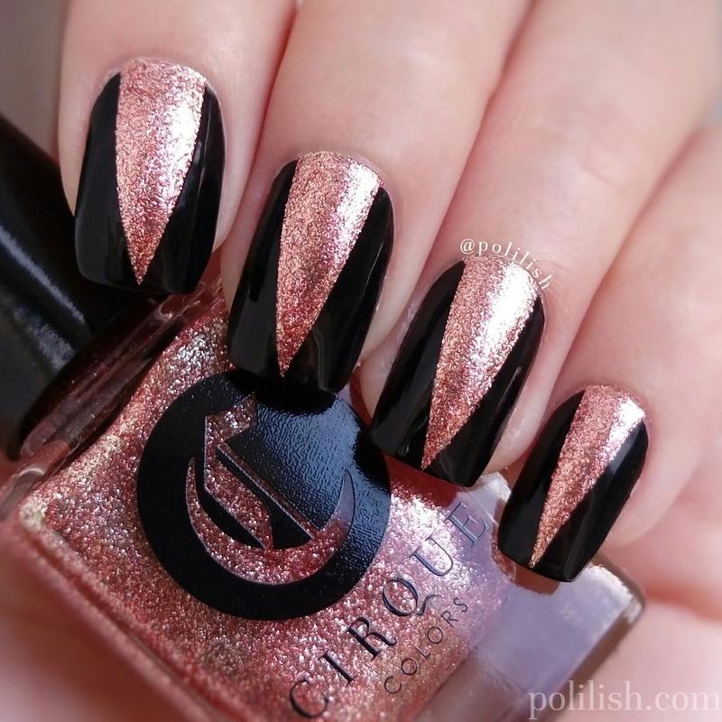 NYE gold chevrons nail art by polilish